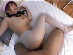 Japanese AV Model in white stockings gets fuck and cum on cans