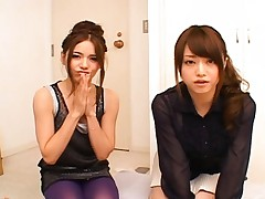 Japanese AV Model and a girlfriend ready to play with his cock