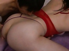 Saori Hara Asian is licked on neck while she sucks cock in orgy