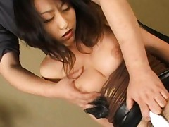 Rei Aoki Asian topless has pink vibrator stuck in her poonanie