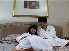 Anna Miyashita Horny Asian doll relaxes in bed with her boyfriend