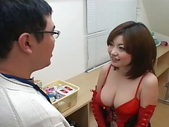 Rio Hamasaki cleavage looks awesome in her red corset