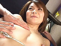 Japanese slut is getting her pussy and nipples licked by her horny pair of guys before sucking and fucking them