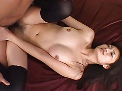 Risa Murakami Asian gets deep frigging in black stockings only