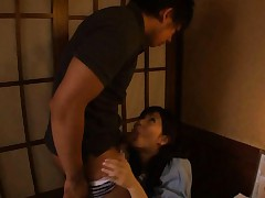 Sora Aoi Asian busty sucks dong and has jugs fondled over blouse