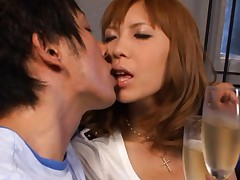 Miku Kohinata Asian busty kisses dude at a glass of champagne