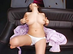 Rio Hamasaki plays with her nipples which really pleases her