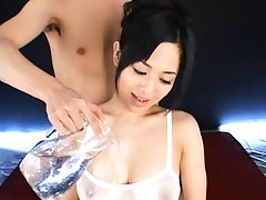 Sora Aoi Asian gets oil over her big jugs under see through body