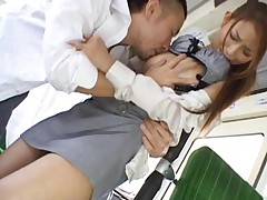 Nao Yoshizaki Asian roughly rubbed on peach and boobies on bus