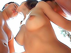 Hot Japanese slut has two horny guys for a hard double pussy pounding