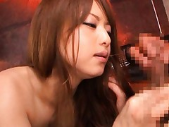 Akiho Yoshizawa is nailed in twat doggy after she sucked dong