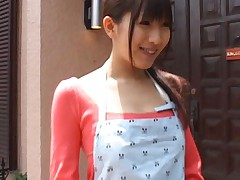Akari Satsuki Asian cooking naked under the kitchen apron for man
