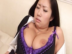 Anri Hoshizaki Asian with immense knockers stroking erect cock