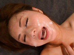 Akiho Yoshizawa with big cans gets huge fuck and sperm on face