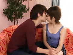 Michi Sawai hot Asian MILF makes out with her guy and exposes tit