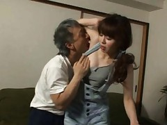 Japanese AV Model has hooters fondled by man inside jeans outfit