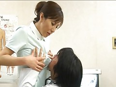 Honami Takasaka looking sexy as the doctor helps her strip
