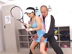Sora Aoi Asian tennis player has boobs touched by her trainer