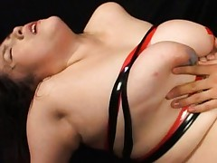 Chiharu Mizushima gets sperm on her huge and tied in strips boobs