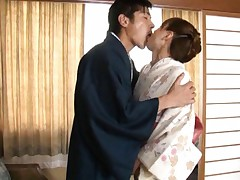 Akiho Yoshizawa is kissed and undressed of geisha dress by hunk