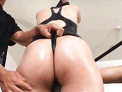 Sana hot chick in latex gets pussy lubed up for masturbation