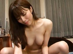 Arisu Miyuki Asian with round boobies rides tool with hairy cunt