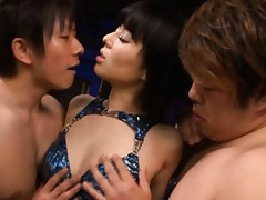 Sora Aoi Asian in stockings has nipples and beaver in men mouths