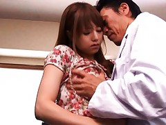 Akiho Yoshizawa is touched on cans over dress by horny doctor