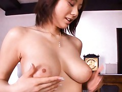 Yuma Asami Asian babe shows nice tits and gets her nipples licked