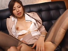 Miyuki Yokoyama with nylon stockings ripped has vagina eaten