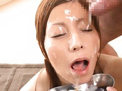 Chihiro Akino Asian has cum poured all over her face and mouth