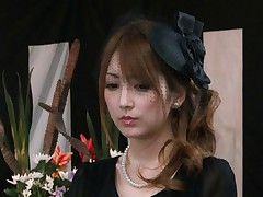 Kaede Matsushima mourning rubs her clit with hand in stockings