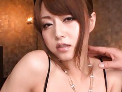 Akiho Yoshizawa with stockings has nipples sucked by two hunks