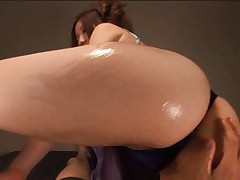 Alice Ozawa Asian with oiled ass in thong has vagina rubbed