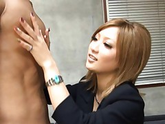 Aika Asian doll in office jacket is aroused by fellow behind