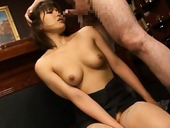Pine Shizuku Asian in stockings and topless gets phallus in mouth