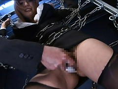 Yua Kisaki Asian is fucked with huge green dildo while is tied