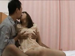 Japanese AV Model in lace dress has vagina screwed with finger