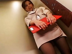 Miyuki Yokoyama in office suit comes to boss office to suck cock