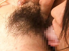 Momoka Kanoh Asian has finger and tongue arousing her hairy peach