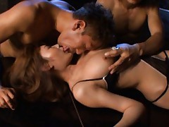 Kirara Asuka Asian in black lingerie has body touched all over