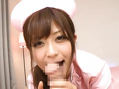 Haruki Sato Asian nurse is glad to give good blowjob to patient