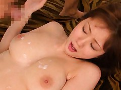 Yuma Asami Asian gets sperm on her huge boobs after strong nail