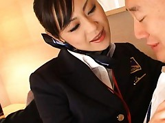 Natsumi Horiguchi air hostess plays with man jewels in pants