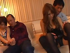 Japanese AV Model and harlot are kissing men with passion in orgy