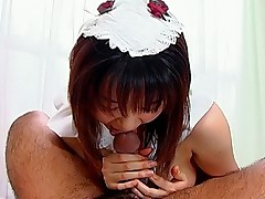 Naughty maid Riko is fucked from the rear and sucks her boss's cock after fuck