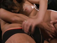 Saori Hara Asian all naked gives blowjob to guy on red couch