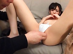 Aino Kishi Asian is rubbed and licked on twat over nylon stocking