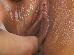 Meguru Kosaka wet pussy is fingered before getting fucked