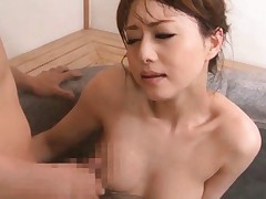 Akiho Yoshizawa has hooters rubbed with hard cock in the water